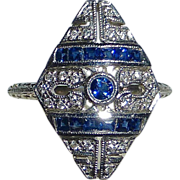 Art Deco 14k White Gold Diamond & Sapphire Ring