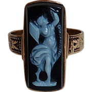 Antique Rose Gold Onyx Cameo Ring ~ Woman Flying Kite