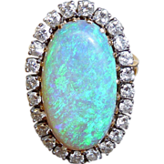 Superb 14k Large Black Opal & Diamond Ring