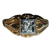 Art Deco 14k Yellow & White Gold Diamond Ring c1930s