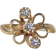 14k Yellow Gold Bow Ring 3 Diamonds