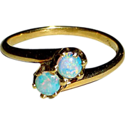 14k Yellow Gold Double Opal Ring