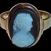 Antique 14k Rose Gold Black & White Hard Stone Cameo Ring