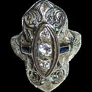 Art Deco 18k White Gold Filigree Ring w Diamonds