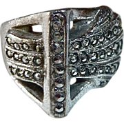 Art Deco Sterling & Marcasite Sculptural Ring
