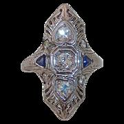 Art Deco 18k & 14k Filigree White Gold Diamond Ring