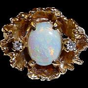 1950s Organic Modernist 14k Crystal Opal & Diamond Ring