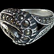 Art Deco Sterling Asymmetrical Marcasite Ring