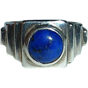 Deco Style Stepped Sterling & Lapis Ring