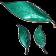 David Andersen Norway Sterling & Enamel Sea Green Leaf Pin & Earrings Set