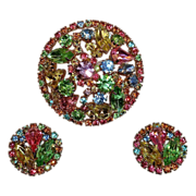 Weiss Vibrant Pastel Rhinestone Pin & Earrings Set