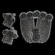 Unique Art Deco SP Roses & Chains Pin & Earrings Set c1930s