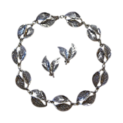 David Andersen Sterling Sculpted Leaf Necklace & Earrings Set