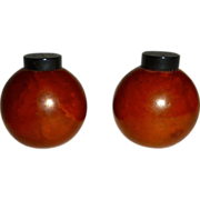 Butterscotch Bakelite Round Salt & Pepper Shakers