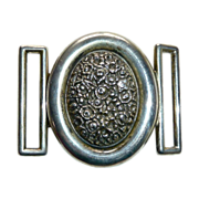 Antique Victorian Ornate Sterling 2 Pc Signed Buckle