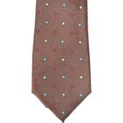 Silk Neck Tie Cocoa Brown w Tiny Multi Colored Diamonds