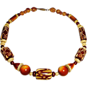 Carved Celluloid & Wood Bead Necklace