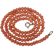 Antique Genuine Salmon Coral Bead Necklace