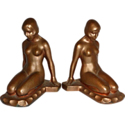 Art Deco Bronzed Spelter Nude Bookends