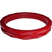 Faceted RED Bakelite Bracelet Pair