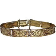 14k Link Bracelet Embossed Floral Design Links