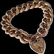 Victorian 9k Rose Gold Embossed Link Bracelet w Engraved Lock Clasp
