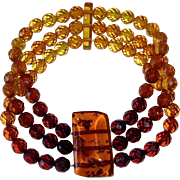 Genuine Faceted Amber Bead Bracelet in Graduated Colors