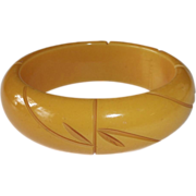 Bakelite Bracelet Carved Wide Butterscotch Bangle