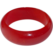 Vibrant Red-Orange Chunky Bakelite Bracelet