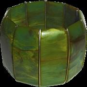 End-of-Day Green Swirl Bakelite X Wide Stretch Bracelet