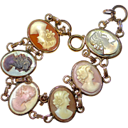 Gold Filled Cameo Bracelet 6 Different Carved Shells