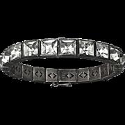 Art Deco Sterling Bracelet Channel Set Large Paste Stone
