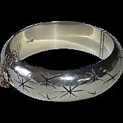 Mexican Sterling Hinged Bracelet Pierced Twinkle Stars