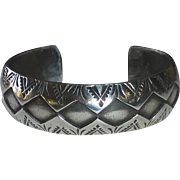 Native American Geometric Applique & Stamped Sterling Domed Cuff Bracelet