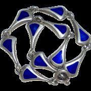 Modernist Sterling & Cobalt Enamel Bracelet