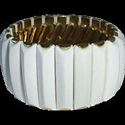 Mid Century White Plastic & Metal Stretch Bracelet