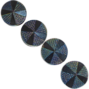 Iridescent Flashed Black Glass Convex Buttons
