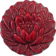 SOLD Pressed Celluloid High Relief Red Dahlia Flower Button