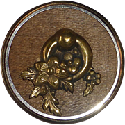 Victorian Metal Button Brass~Steel~Wood