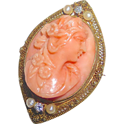 Edwardian Coral Cameo 14k Filigree Framed Pin/Pendant Seed Pearls Diamonds