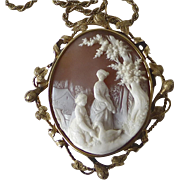 14k Early Victorian Large Scenic Cameo Women & Goose