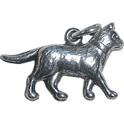 Sterling Strolling Kitty Cat Charm
