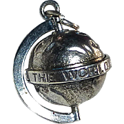 """Sterling Globe Charm 'All The World Loves A Lover"""""""