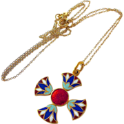 18k Double Sided Enamel Maltese Cross & Chain