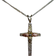 Sterling & 12k Rose & Yellow Gold Cross & Chain