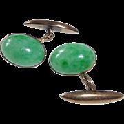 Antique 14k Rose Gold Fine Jade Jadeite Cufflinks