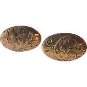 10k Engraved Floral Oval Post Earrings
