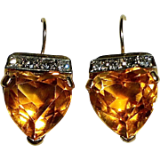 14k Madeira Citrine Hearts & Diamonds Pierced Earrings