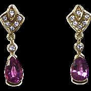 14k Tourmaline Teardrop Earrings w Diamonds