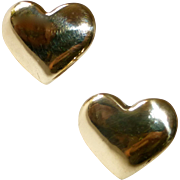 SALE 14k Yellow Gold Heart Post Earrings